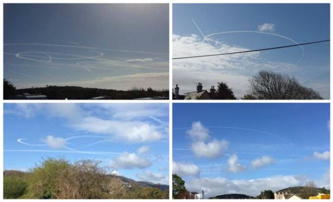 Trails from aircraft over North Wales