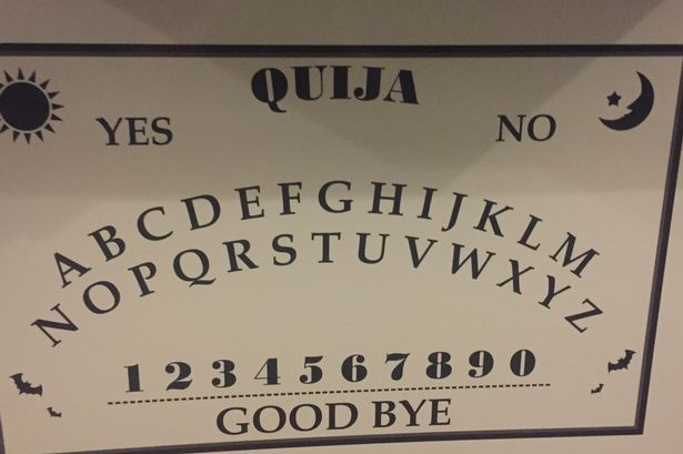 Ouija board used at Penrhyn Old Hall during paranormal investigation by Alius Sanctus