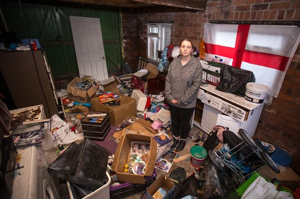 kitchen pass through window tall bags leanne garforth, in her garage which was ransacked by thieves