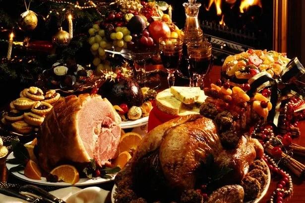 of christmas food on table christmas dinner table with food