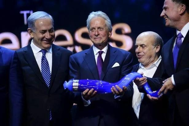 Michael Douglas wins the Genesis Prize at an award ceremony in Jerusalem