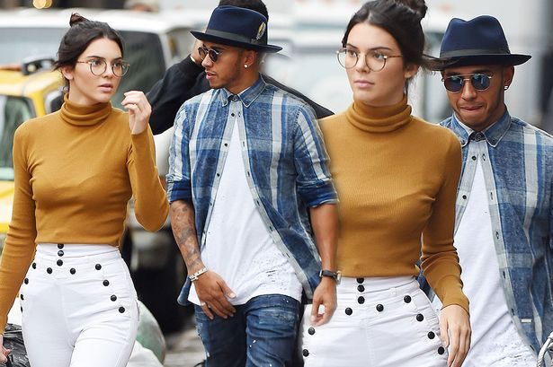 Kendall Jenner and Lewis Hamilton having a little look at her bum