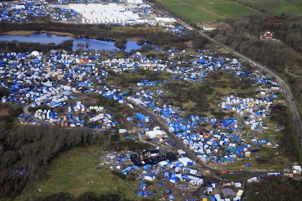Aerial view of a makeshift camp