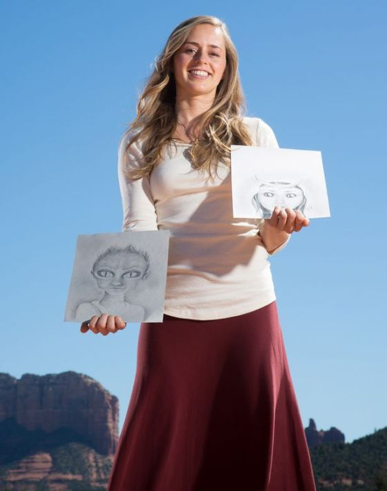 A group of women called the Hybrid Baby Community are claiming they have children which were fathered by aliens who live with their dads on giant spaceships and have sketched how the aliens look. Pictured - Bridget Nielson with some of her sketches