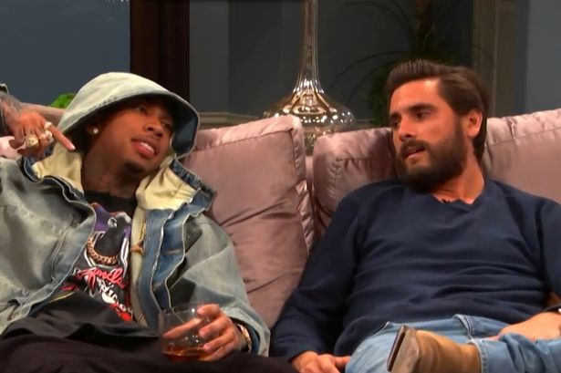 Scott Disick appearing on 'Kocktails with Khloe' alongside Tyga