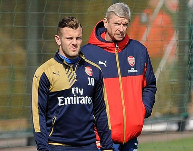 Jack Wilshere and Arsene Wenger during the Arsenal Training Session at London Colney on April 1, 2016