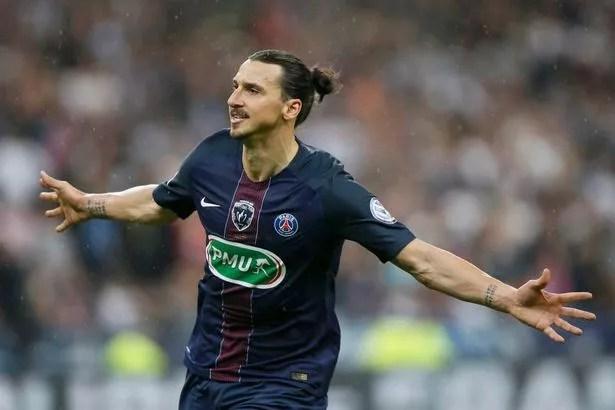 Paris St Germain's Zlatan Ibrahimovic after scoring