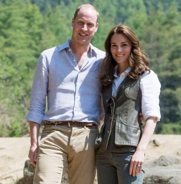 Kate wore a green leather Really Wild jerkin on their trek to the Tiger's Nest Monastery