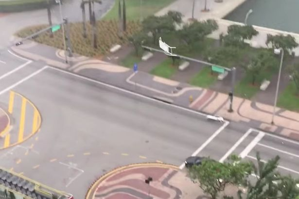 Storm in Miami drags furniture from hi-rise apartments
