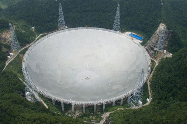 Aerial view of the completed world's largest radio telescope five hundred meter Aperture Spherical Telescope