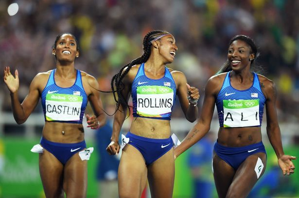 Bronze medalist Kristi Castlin, gold medalist Brianna Rollins and silver medalist Nia Ali of the United States