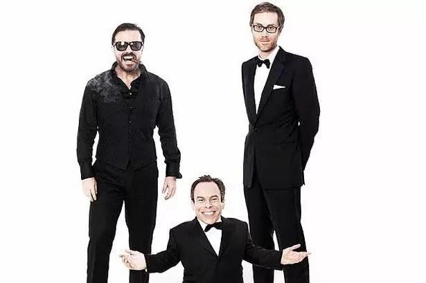 Ricky Gervais, Warwick Davies, Stephen Merchant (pic: BBC)