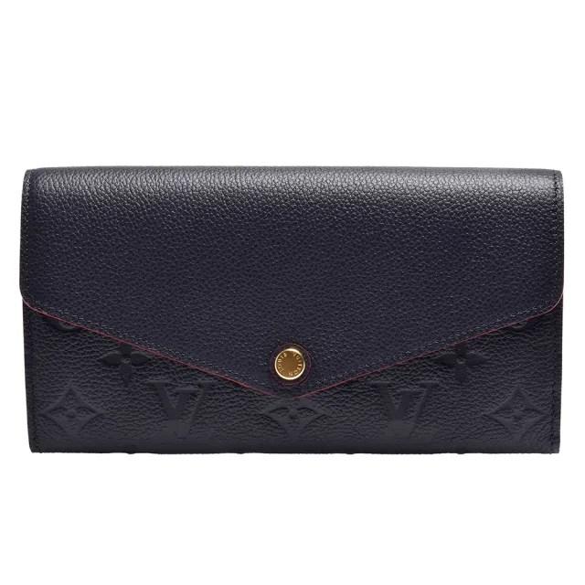 【Louis Vuitton 路易威登】M62125 經典SARAH系列Empreinte壓花小牛皮暗釦長夾(海軍藍X紅色)