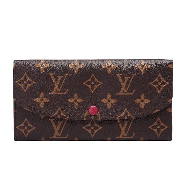 【Louis Vuitton 路易威登】M60697 Emilie系列經典Monogram釦式長夾(紫紅)