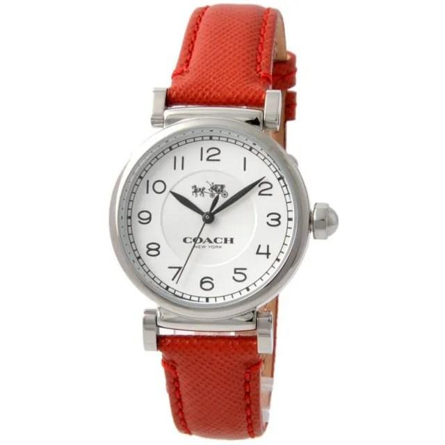 【COACH】Madison銀框X紅色皮革錶帶手錶