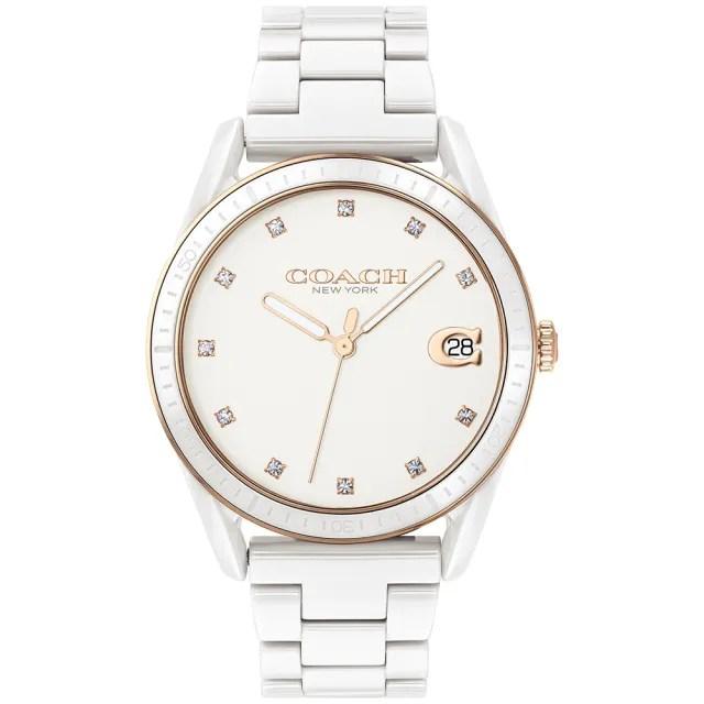 【COACH】優雅質感陶瓷晶鑽腕錶-36mm/白(14503263)