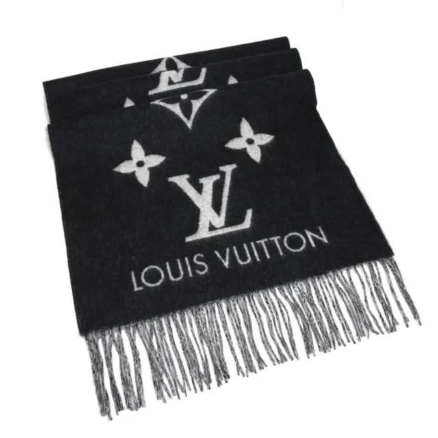 【Louis Vuitton 路易威登】M71040 Reykjavik Monogram 喀什米爾圍巾(黑灰)