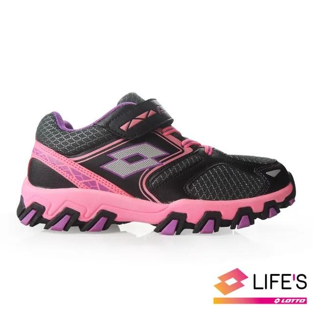 【LOTTO】運動鞋 兒童鞋  冒險王 防潑水越野跑鞋(黑/桃-LT9AKR1060)