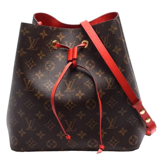 【Louis Vuitton 路易威登】M44021 經典Neonoe系列Monogram帆布印花牛皮鑲飾束口斜背/肩背水桶包