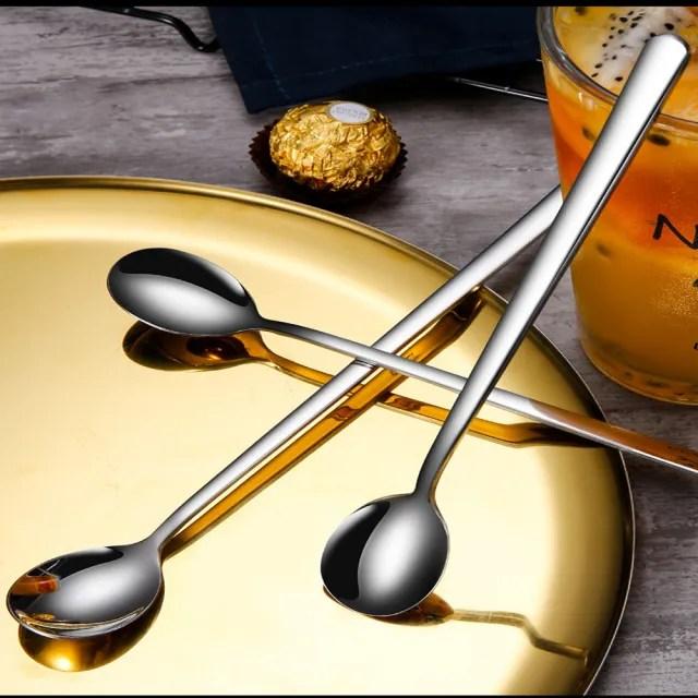 【瑞典廚房】304不鏽鋼 加長 長柄攪拌勺 攪拌匙 咖啡勺 冰品 甜品 湯匙 冰沙匙(長26cm 2入組)