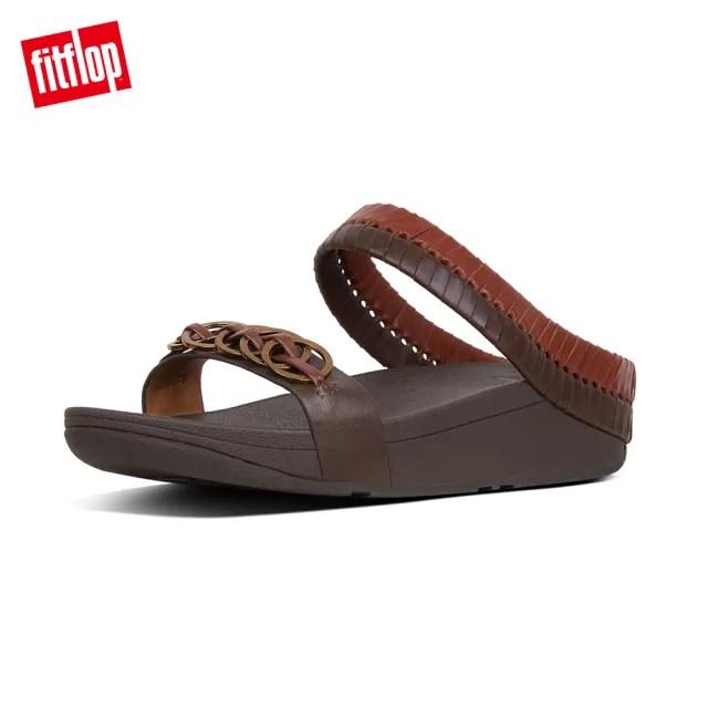 【FitFlop】CIRQUE SLIDES雙色交織設計款雙帶涼鞋-女(琥珀色/淺褐)