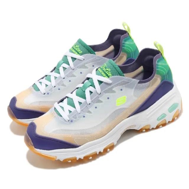 【SKECHERS】休閒鞋 D Lites-Fresh Air 女鞋 老爹鞋 吸震 耐磨 修飾腿部線條 穿搭 白 紫(149235PRTQ)