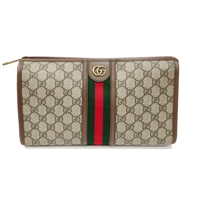 【GUCCI 古馳】598234 經典Ophidia系列GG帆布印花綠紅綠織帶皮革飾邊中性款手拿包(棕色)