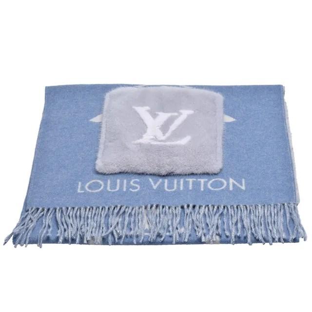 【Louis Vuitton 路易威登】M76342 COLD REYKJAVIK系列山羊絨口袋圍巾(藍)