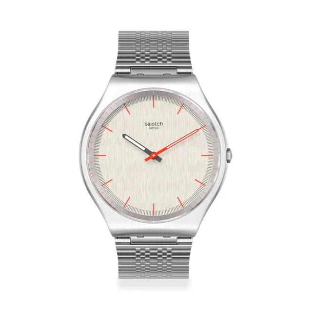 【SWATCH】Skin Irony 超薄金屬系列手錶TIMETRIC 風尚銀(42mm)