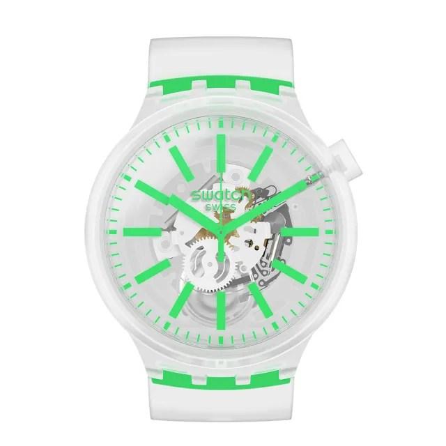【SWATCH】BIG BOLD JELLY系列手錶 GREENINJELLY 清新綠(47mm)