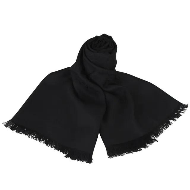 【GUCCI 古馳】GUCCI 經典GG緹花 LOGO羊毛圍巾(黑)