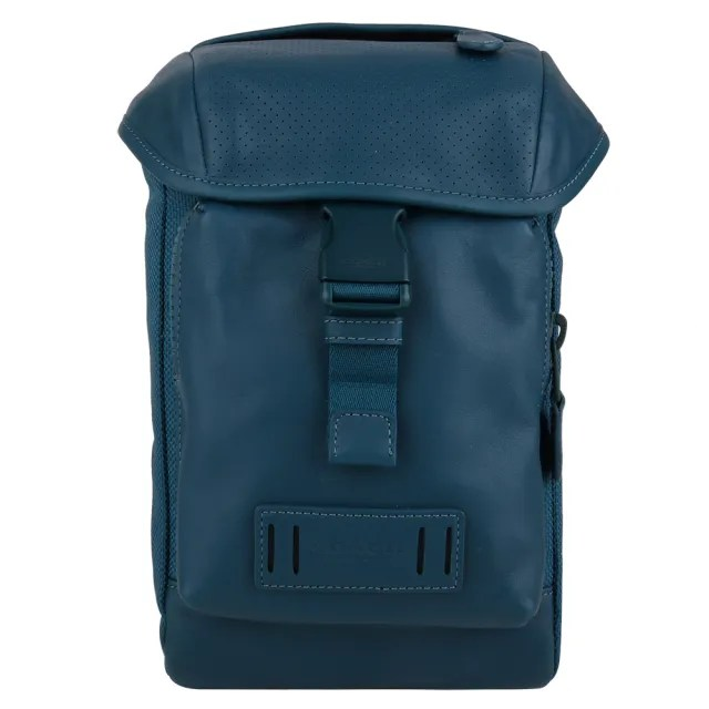 【COACH】皮標洞洞皮革拼帆布壓釦直式男側/前胸包(藍綠)