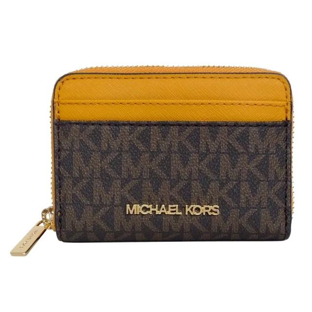 【Michael Kors】字印皮革方型卡夾零錢包(深咖黃邊)