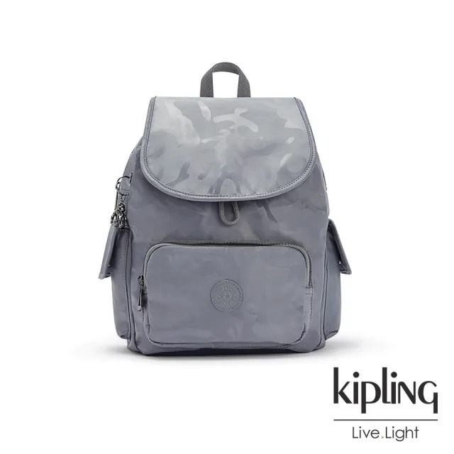 【KIPLING】光澤霧灰紫迷彩拉鍊掀蓋後背包-CITY PACK S