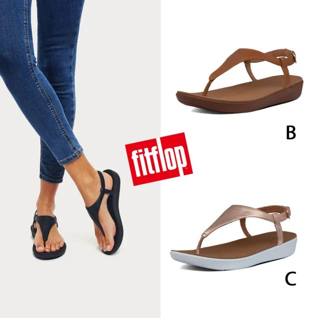 【FitFlop】LAINEY TOE-THONG BACK-STRAP SANDALS-T字可調式後帶涼鞋-女(淺褐色)