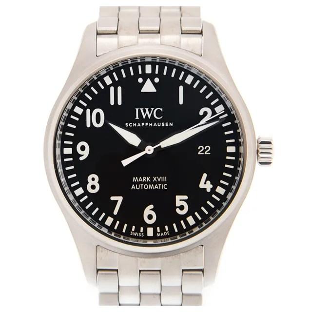 【IWC 萬國錶】馬克十八飛行員鍊帶腕錶x黑x40mm(IW327015)