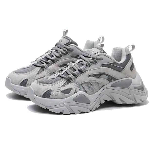 【FILA】老爹鞋 INTERATION 復古 厚底 增高 水泥灰 情侶款 休閒鞋 男女(4C602U050)