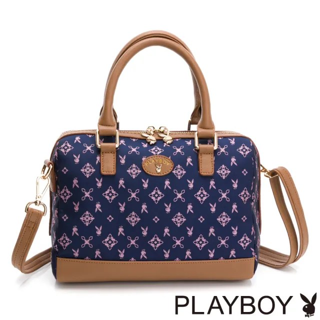 【PLAYBOY】手提包附長背帶 kalos系列(藍色)