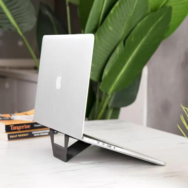 【DesignNest】FoldStand 超輕薄隱形筆電支架(11吋以上皆可用 酷炫灰)