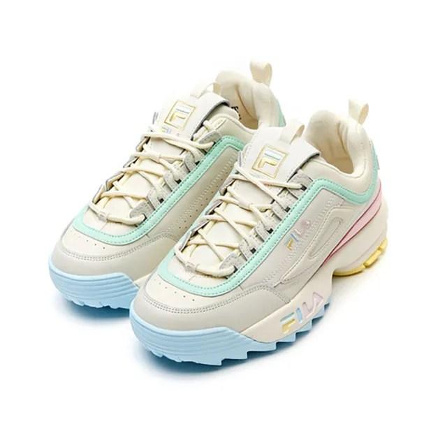 【FILA】休閒鞋 Disruptor 2 Premium 女鞋 斐樂 老爹鞋 厚底 增高 穿搭推薦 米 綠(4-C113V-792)