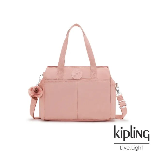 【KIPLING】玫瑰石英粉大容量手提兩用包-KENZIE