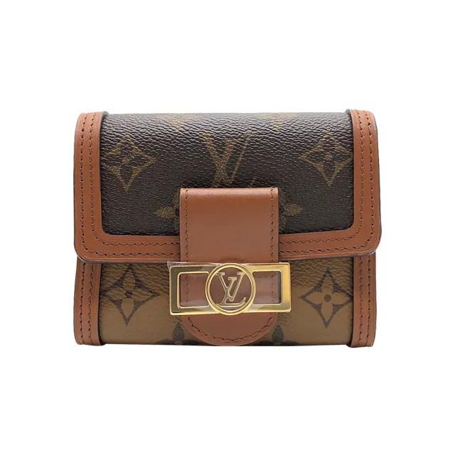 【Louis Vuitton 路易威登】Dauphine 帆布扣式短夾(M68725-咖)