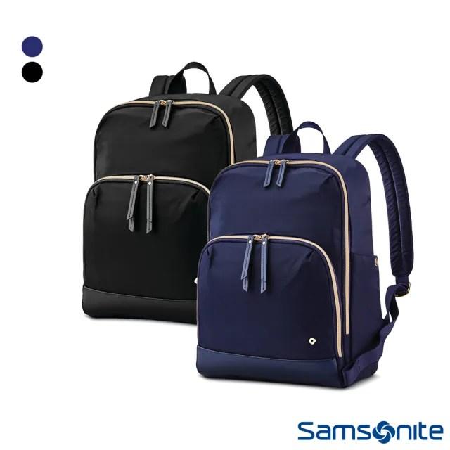 【Samsonite 新秀麗】MOBILE SOLUTION經典防潑水筆電後背包14(海軍藍&黑)