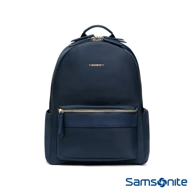 【Samsonite 新秀麗】LEIA防潑耐磨輕量女用筆電後背包(海軍藍)