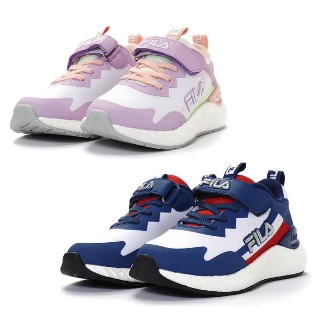 【FILA】KIDS 輕量慢跑鞋 童鞋 運動鞋 康特杯(3-J818V-123/ 3-J818V-911兩色任選)