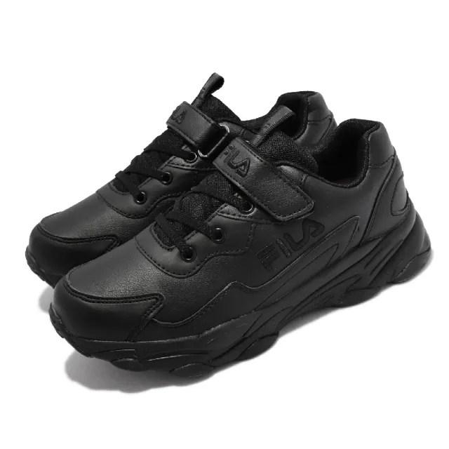 【FILA】休閒鞋 J813V 魔鬼氈 童鞋 斐樂 皮革鞋面 基本款 緩震 中大童 黑(3J813V000)