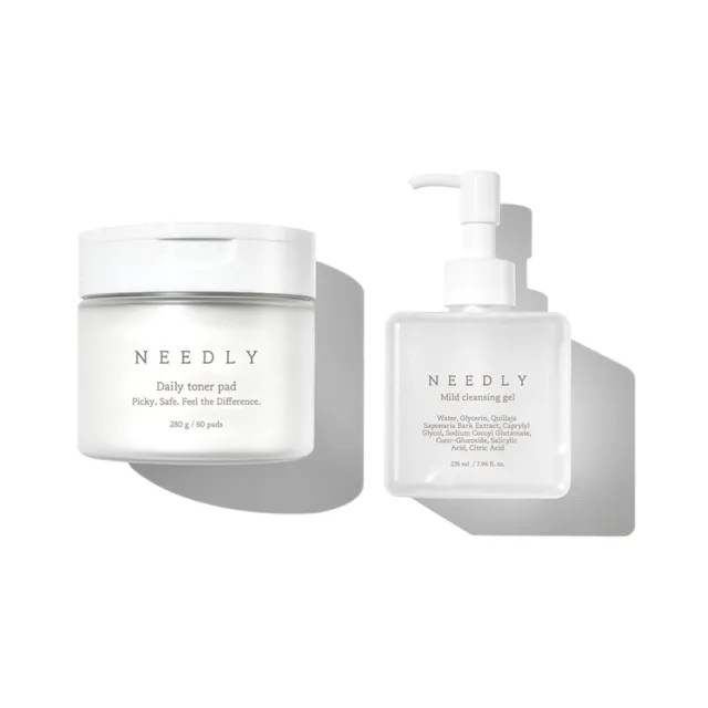 【NEEDLY】水潤肌清潔保養套組(每日調理清透爽膚棉60片+溫和潔面凝露235ml)