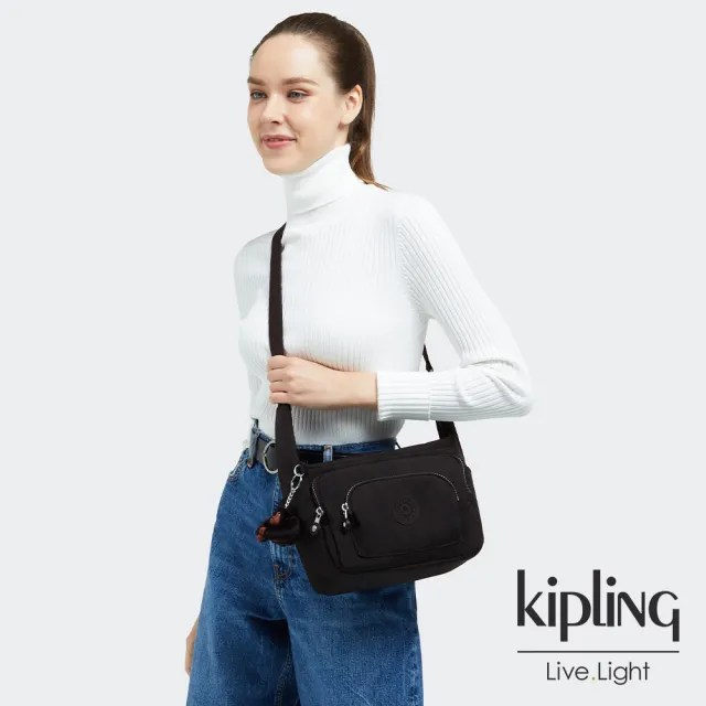 【KIPLING】極簡俐落黑翻蓋手提側背包-ZEVA