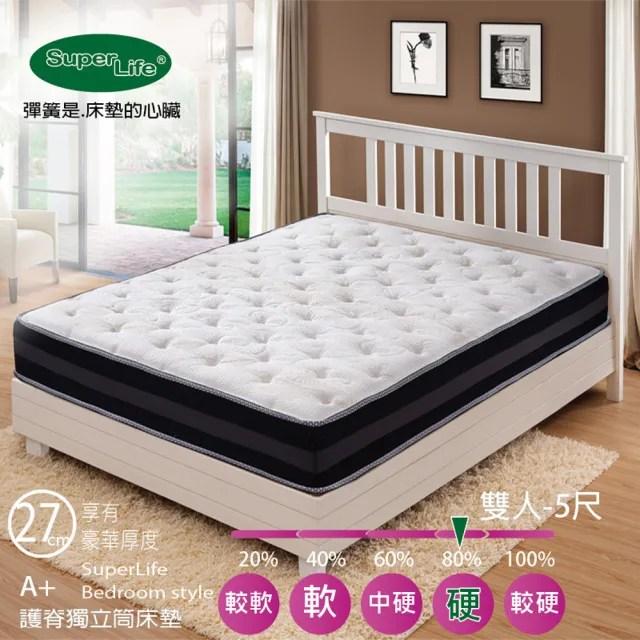 【Super Life】A+護脊高端紗線防蹣抗菌獨立筒床墊-雙人5尺(硬Q札實|高級床墊免翻面設計)