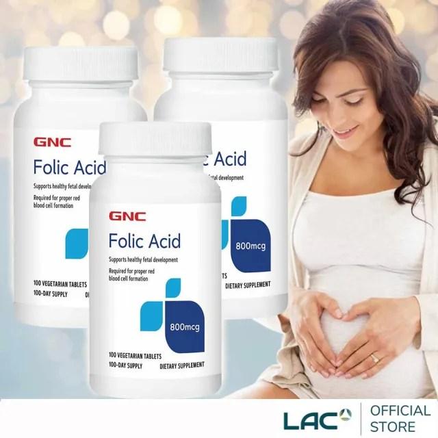 【LAC 利維喜】3入組 GNC健安喜 葉酸食品錠100錠(孕養調理/維持好氣色/新裝上市)